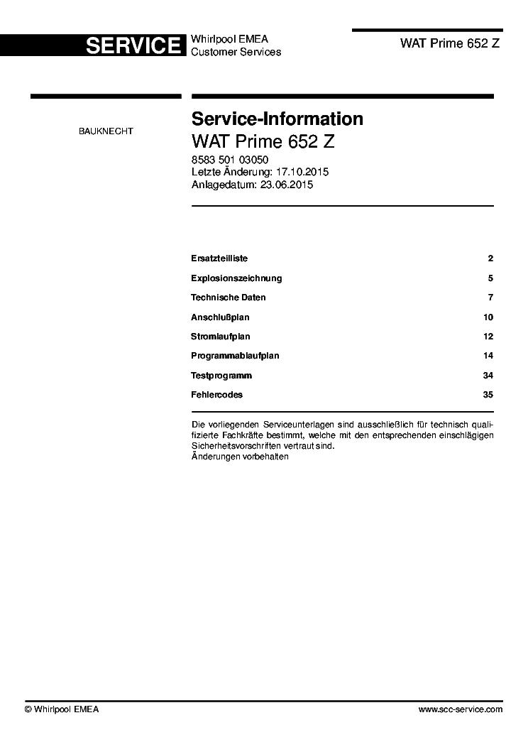 Bauknecht Wat Prime 652 Z Sm Service Manual Download Schematics