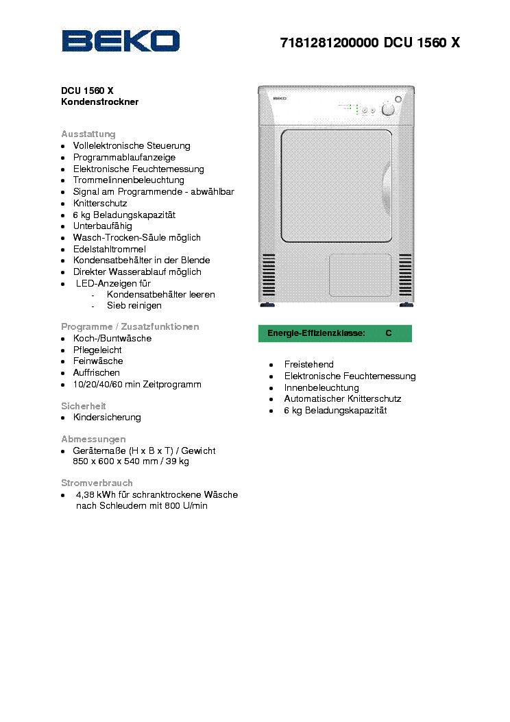 beko dcu 1560 x service manual download  schematics Masine Beko Beko Washing Machine Problems