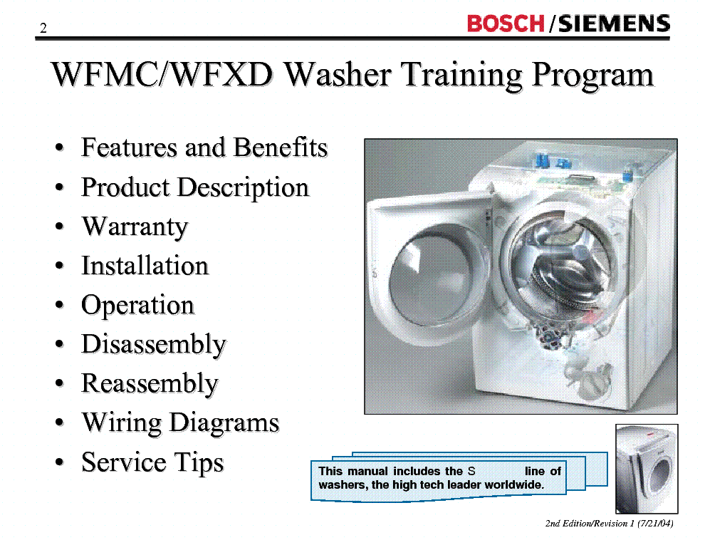 BOSCH SIEMENS WFMC WFXD TRAINING MANUAL Service Manual download