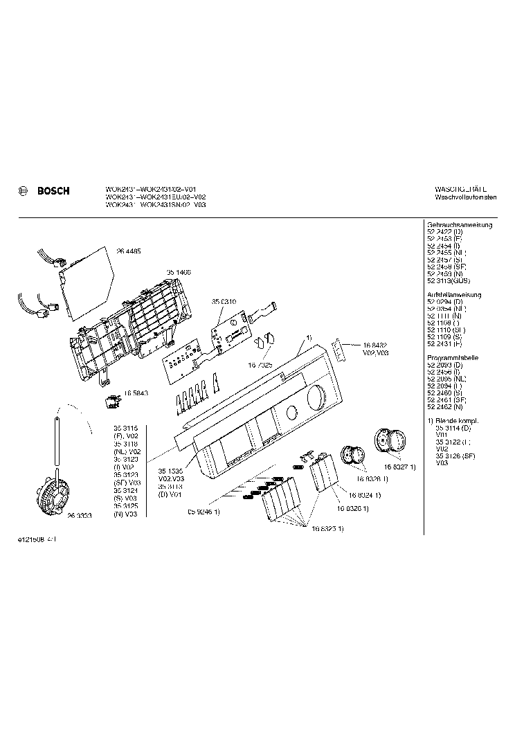 BOSCH WOK 2431-02 EXPLODED service manual