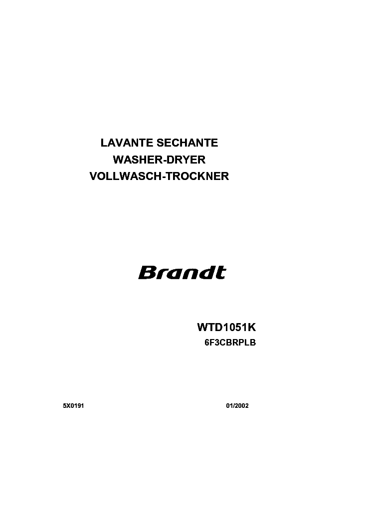 Brandt wtc1251k washing machine download user guide for free.