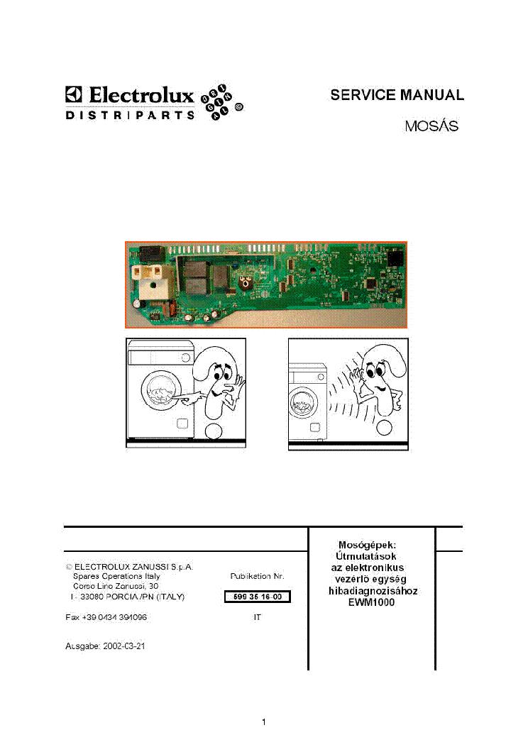 Zanussi Washing Machine Wiring Diagram Service Manual