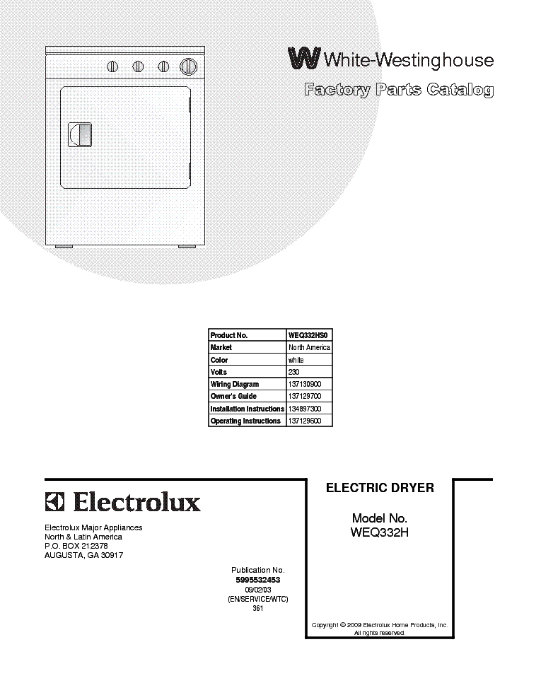 electrolux white-westinghouse weq332hs dryer service manual (1st page)