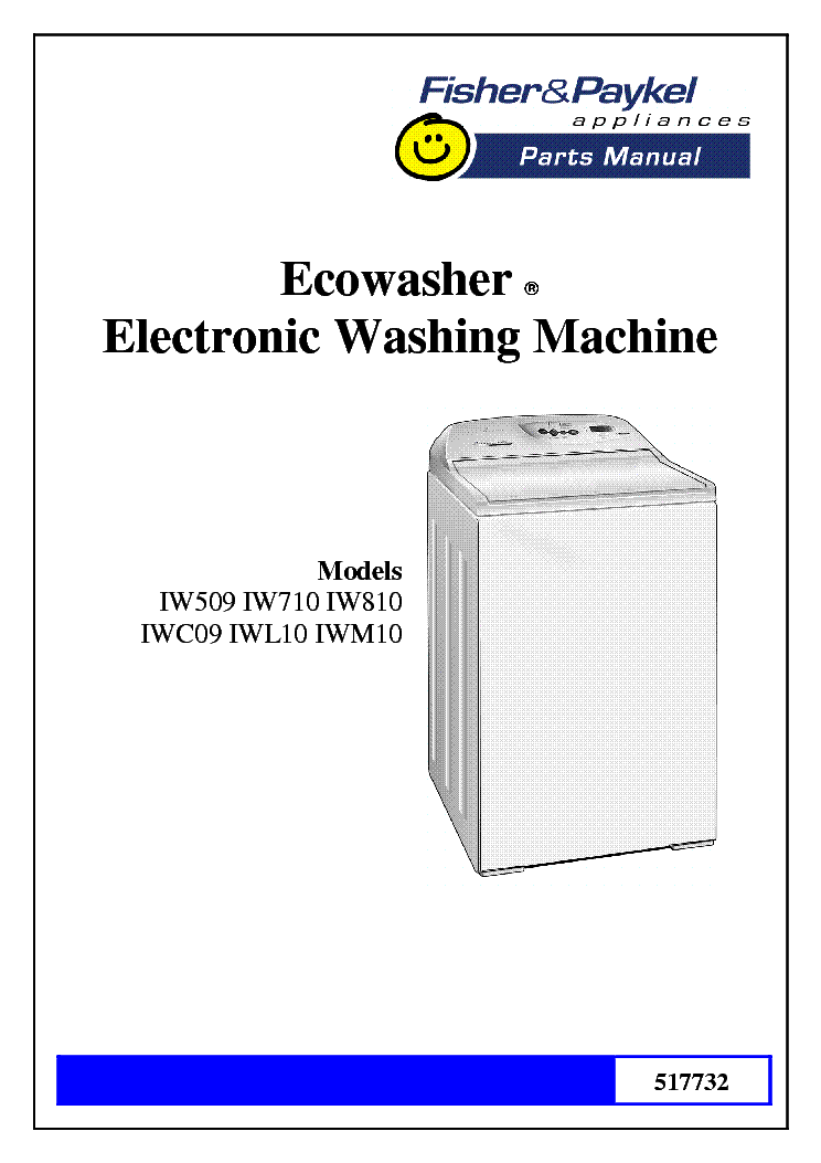 Fisher Paykel Repair manual Washing front loader Instructions on