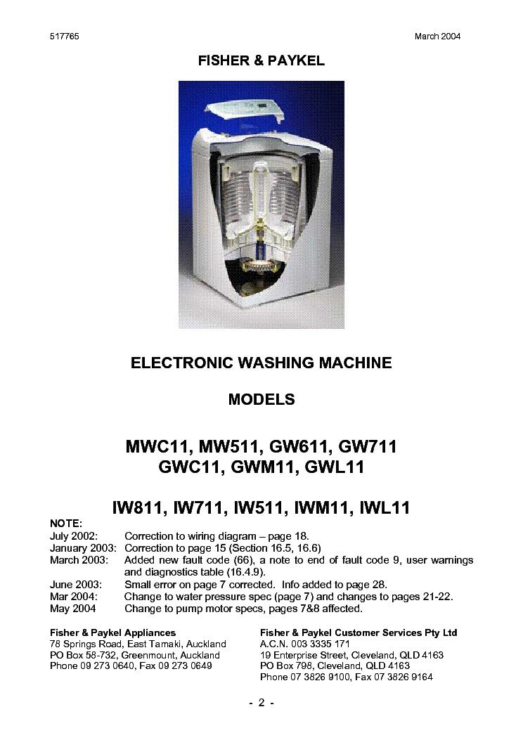 611 711 FISHER /& PAYKEL WASHING MACHINE MOTOR CONTROLLER GW LW MW 511