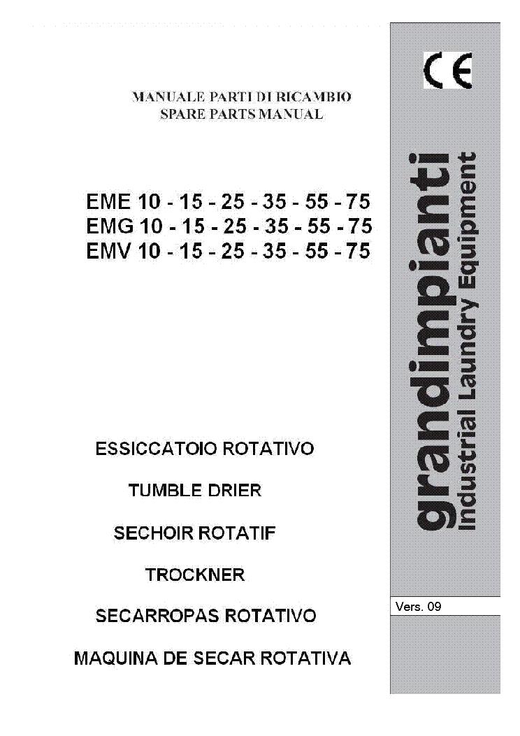 GRANDIMPIANTI EME EMG EMV 10-15-25-35-55-75 PARTS LIST Service ...