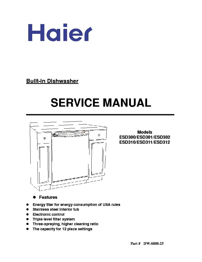 Haier Esd300 Esd301 Esd302 Esd310 Esd311 Esd312 Service