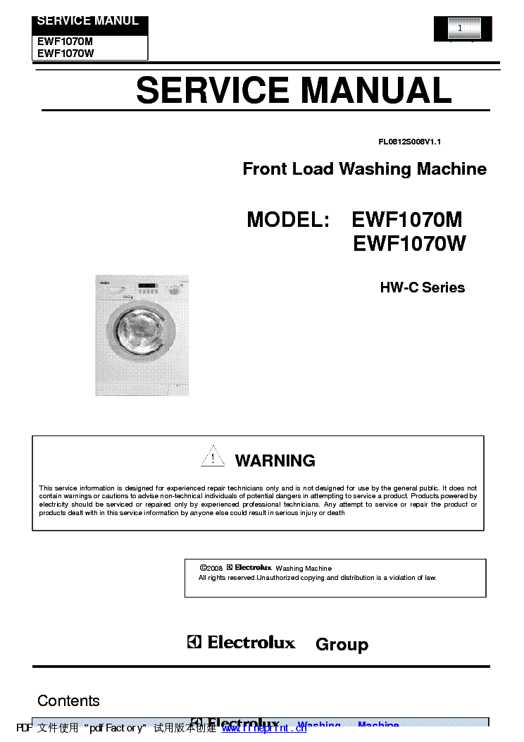 Haier Ewf1070 Washing Machine Sm Service Manual Download