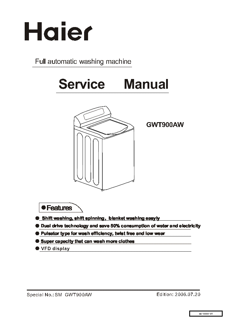 haier gwt800aw service manual