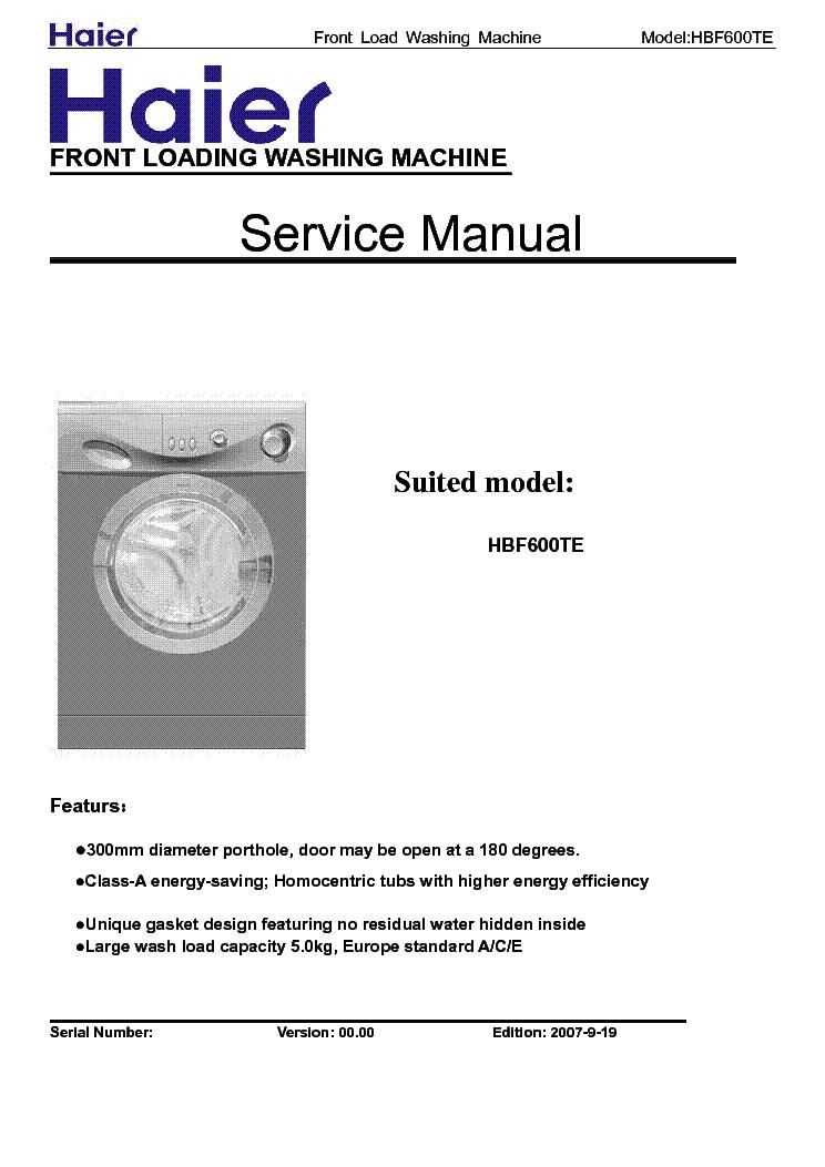 Haier Washing Machine Repair Manual - Machine Photos and