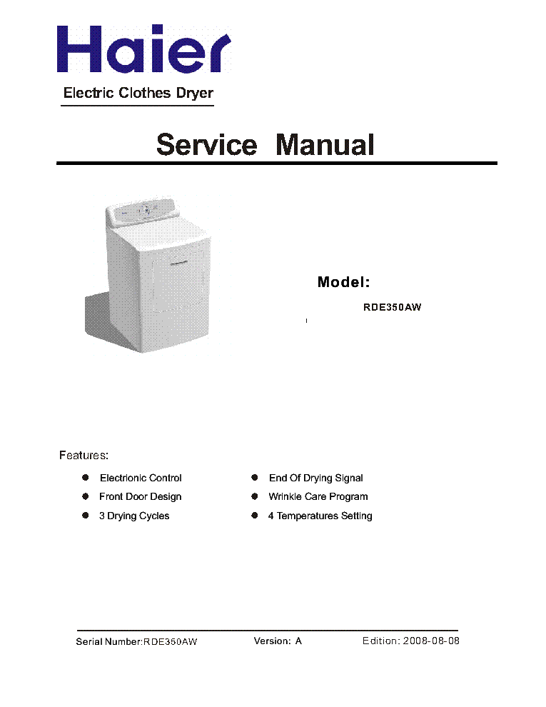 Haier Rde350aw Service Manual Download  Schematics  Eeprom