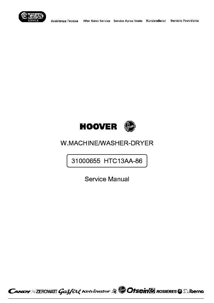 HOOVER HTC13AA-86 service manual