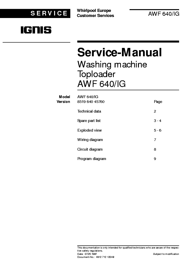 IGNIS AWF640IG service manual (1st page)