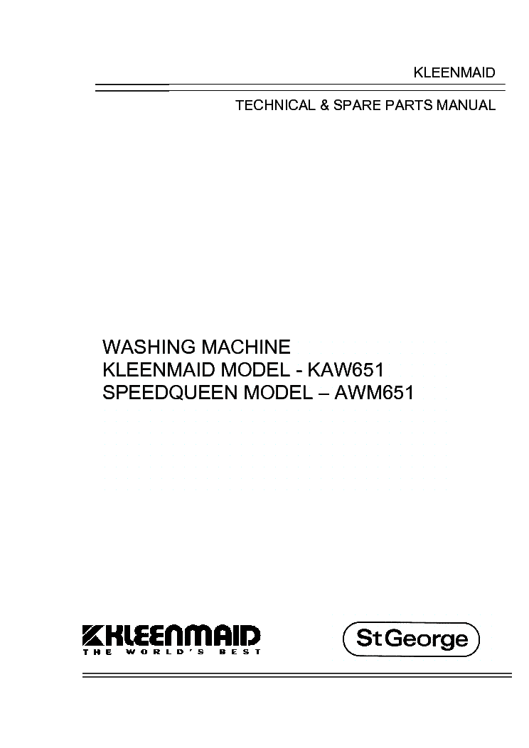 KLEENMAID KAW651 Service Manual download, schematics, eeprom ... on