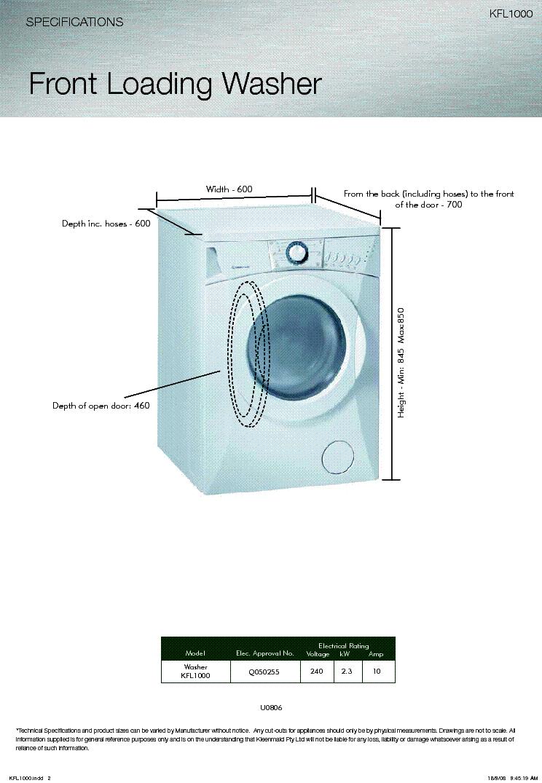 KLEENMAID KFL1000 SPECS Service Manual download, schematics ... on
