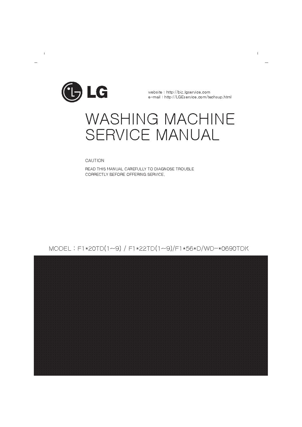 LG F1 20TD F1 22TD F1 56D WD WD- 0690TDK service manual (1st page