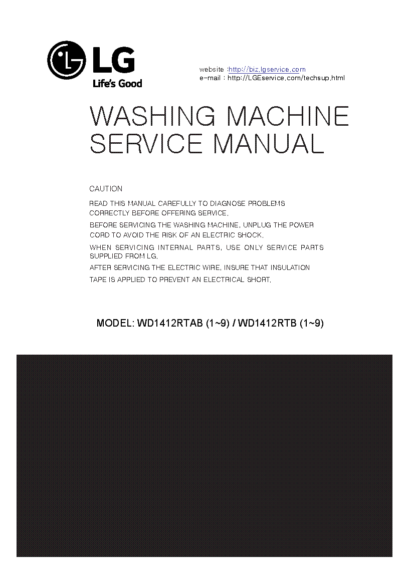 LG WD1412RTAB WD1412RTB service manual (1st page)