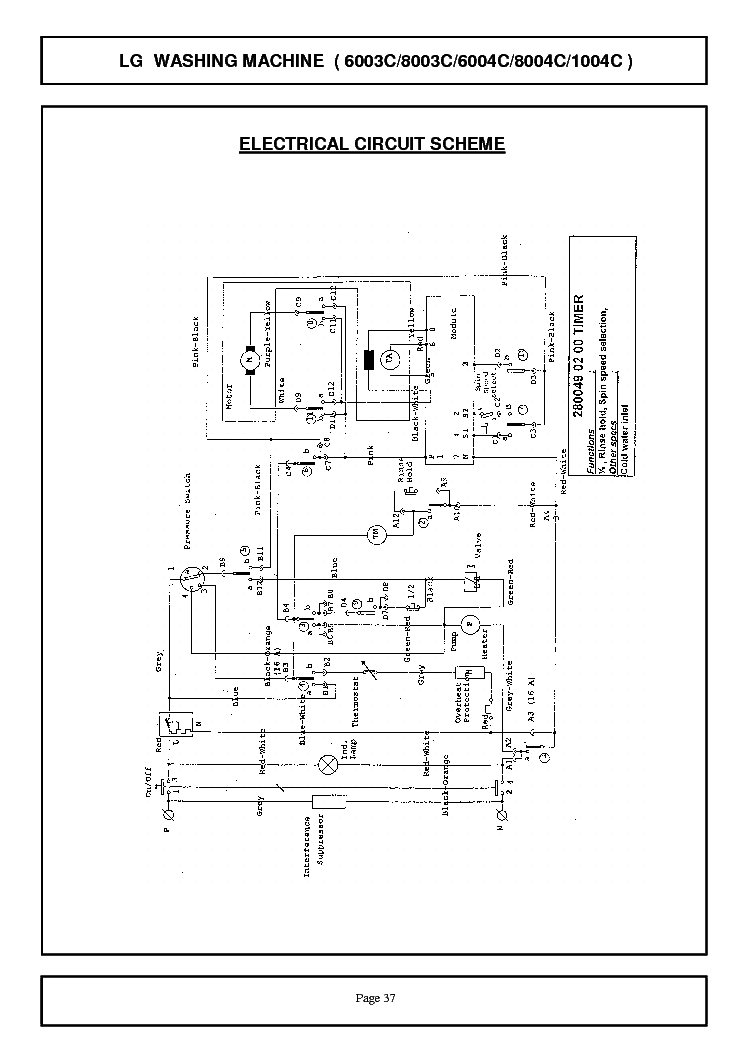 Wiring Diagram For Washing Machine On Wiring Download For