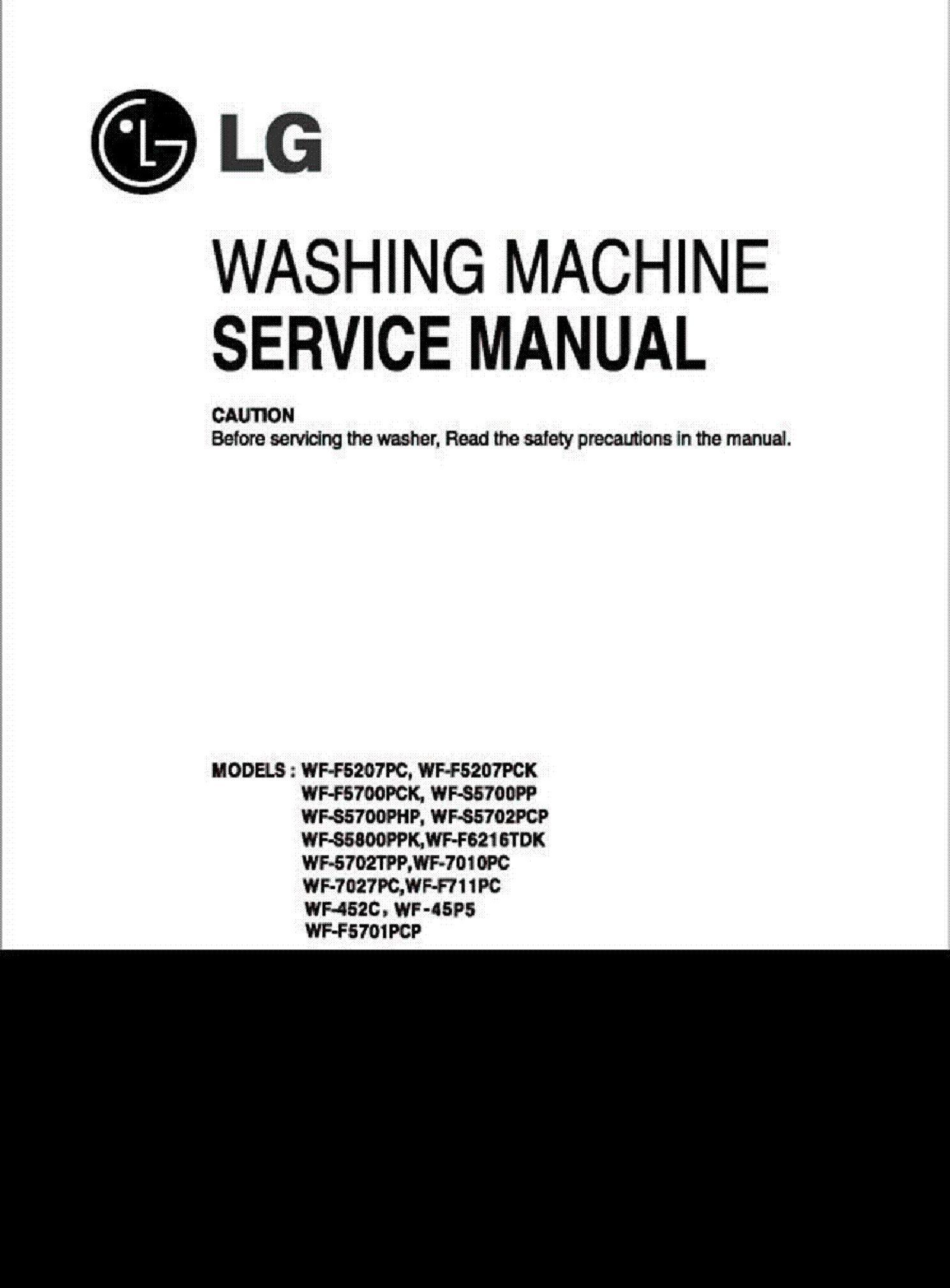 LG WF-45P5 452C F701 WF-5702 7010 7027 service manual (1st page