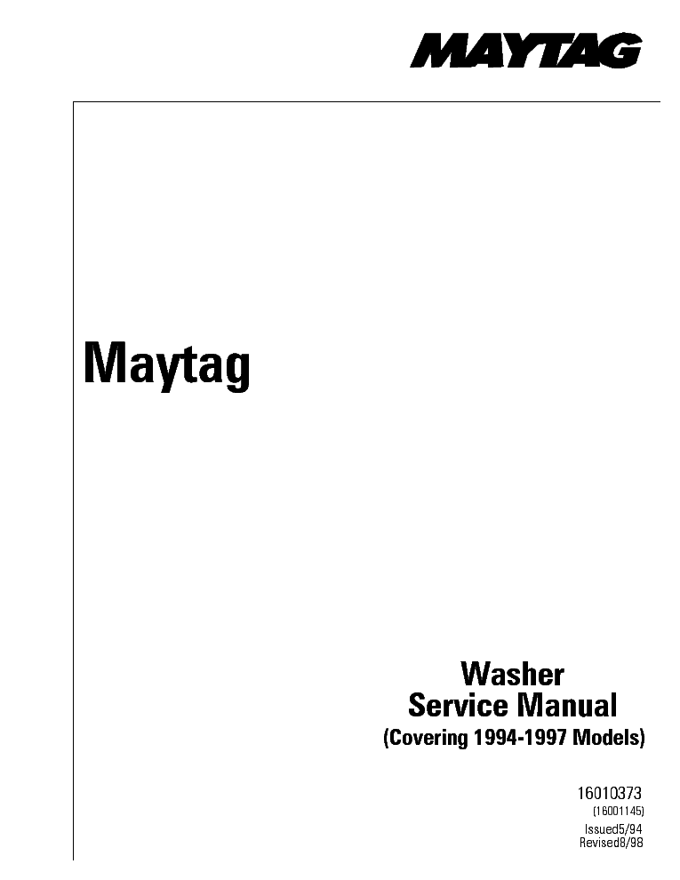 MAYTAG DEPENDABLE CARE service manual