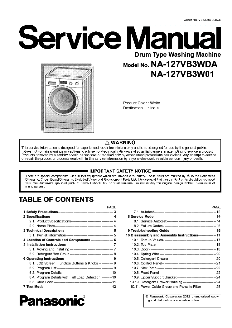 PANASONIC NA-127VB3WDA NA-127VB3W01 service manual