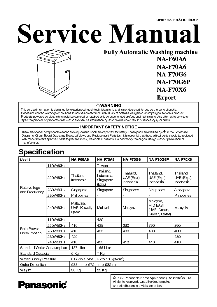 panasonic na f60a6 na f70a6 na f70g6 na f70g6p na f70x6 service rh elektrotanya com Panasonic Washing Machine Philippines panasonic washing machine user manual