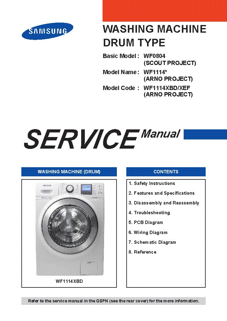 SAMSUNG WF0804Y8E WF1114XBD-XEF WASHING MACHINE Service