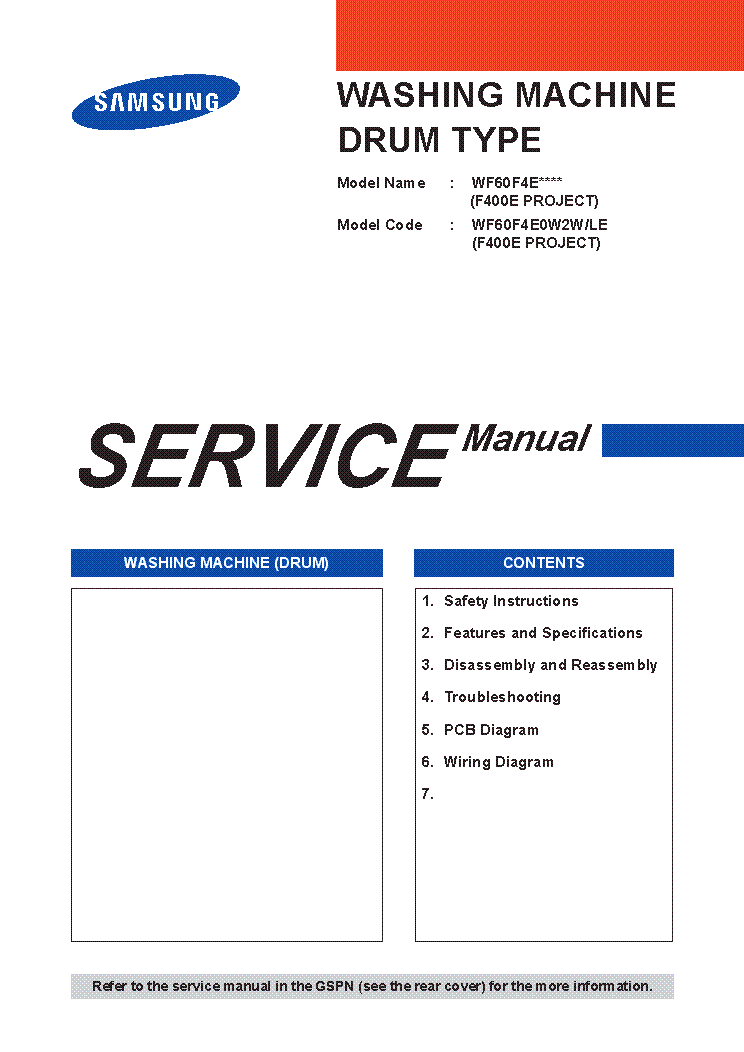 SAMSUNG WF60F4E0W2WLE F400E PROJECT service manual