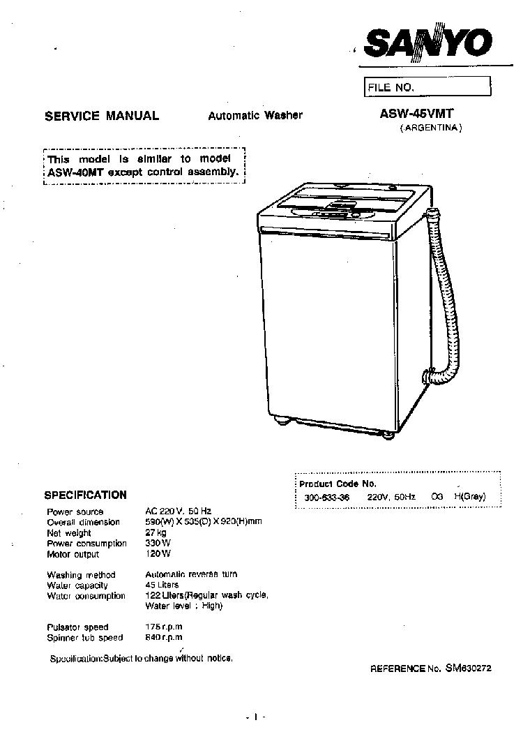 Sanyo Washing Machine Diagram Dryers Wire Diagrams Semi Automatic Wiring Pdf Asw 45vmt Service Manual Download Schematics Eeprom Repair Aqua Washer