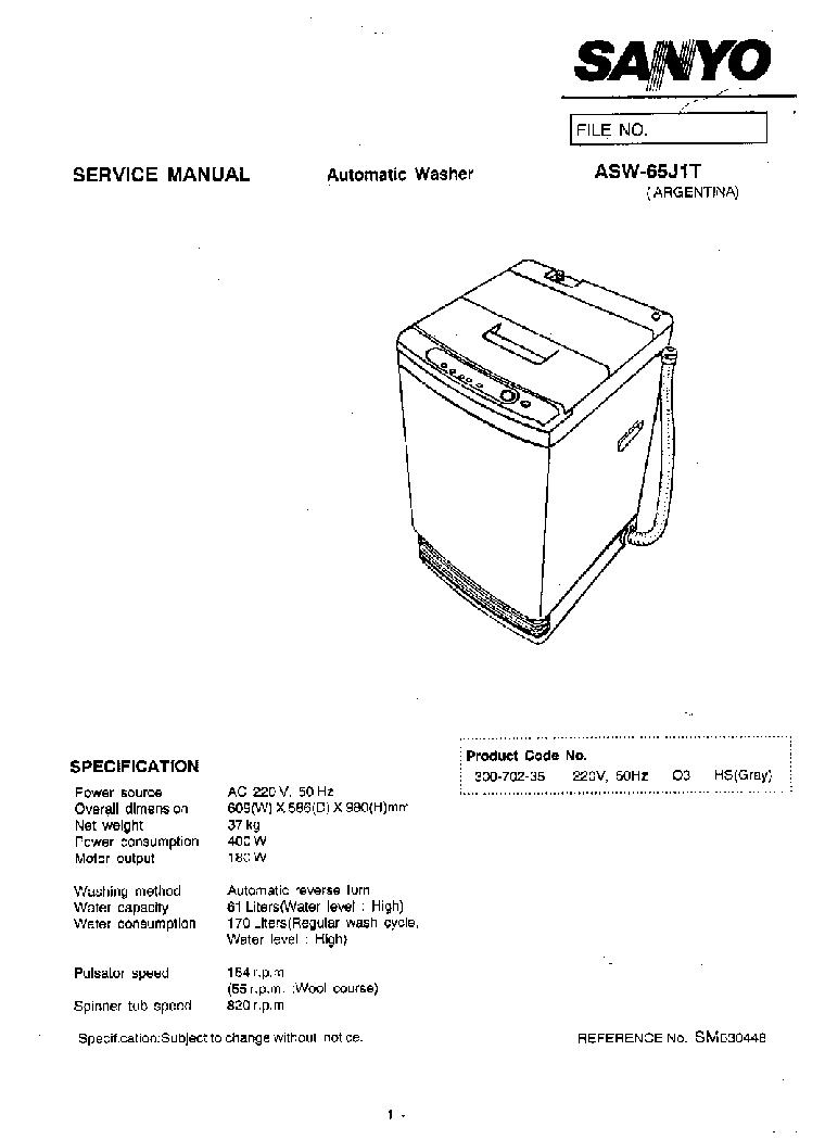 SANYO ASW-65J1T service manual (1st page)
