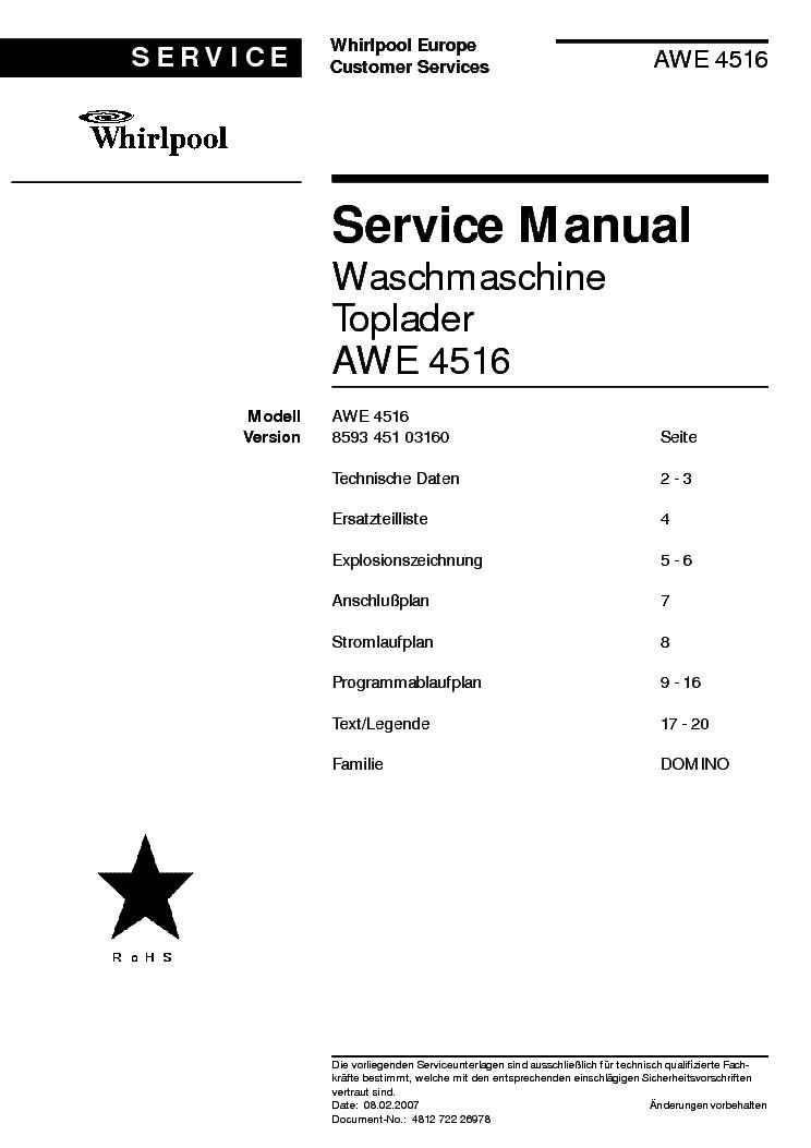 Whirlpool Awe 4516 Service
