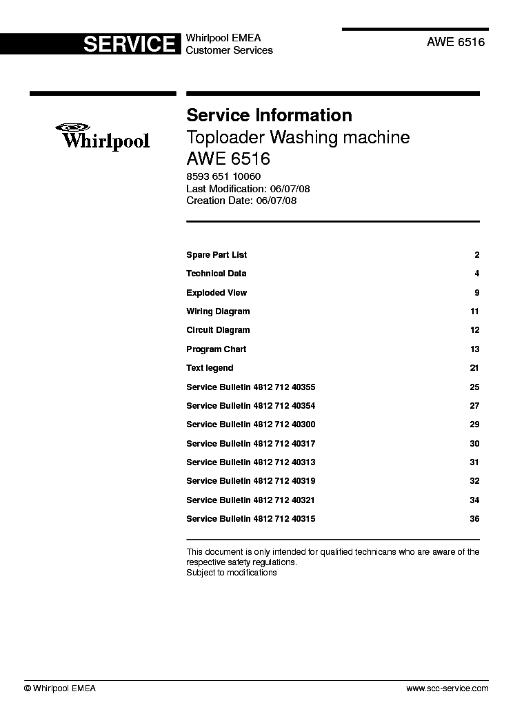 Whirlpool Awe 6516 Service