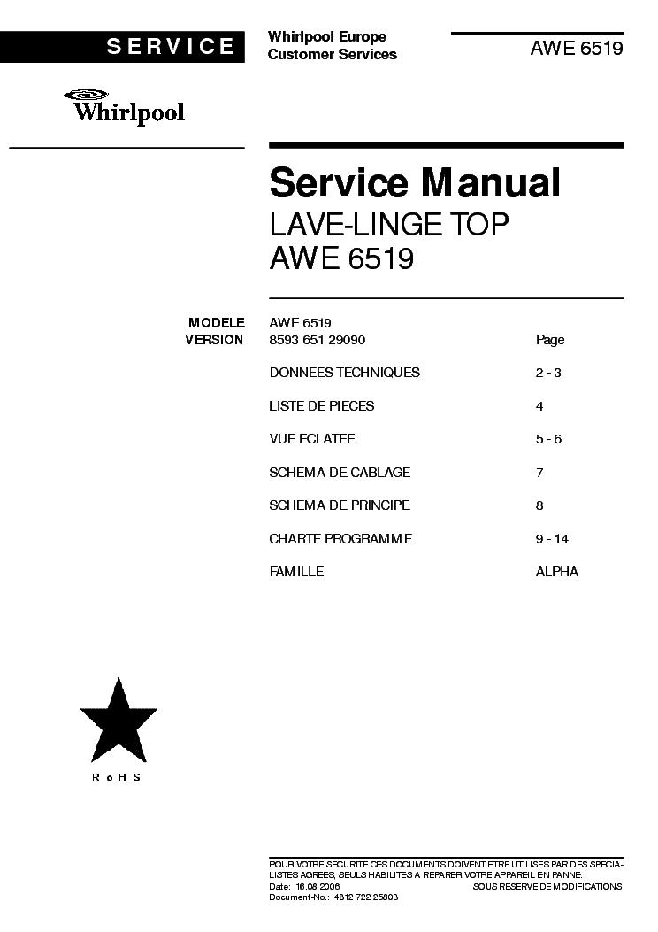 Whirlpool Awe 6519 Service