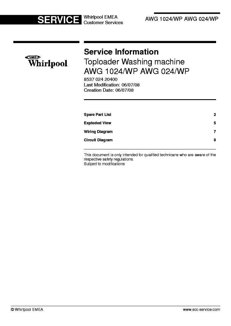 whirlpool awg 206 инструкция