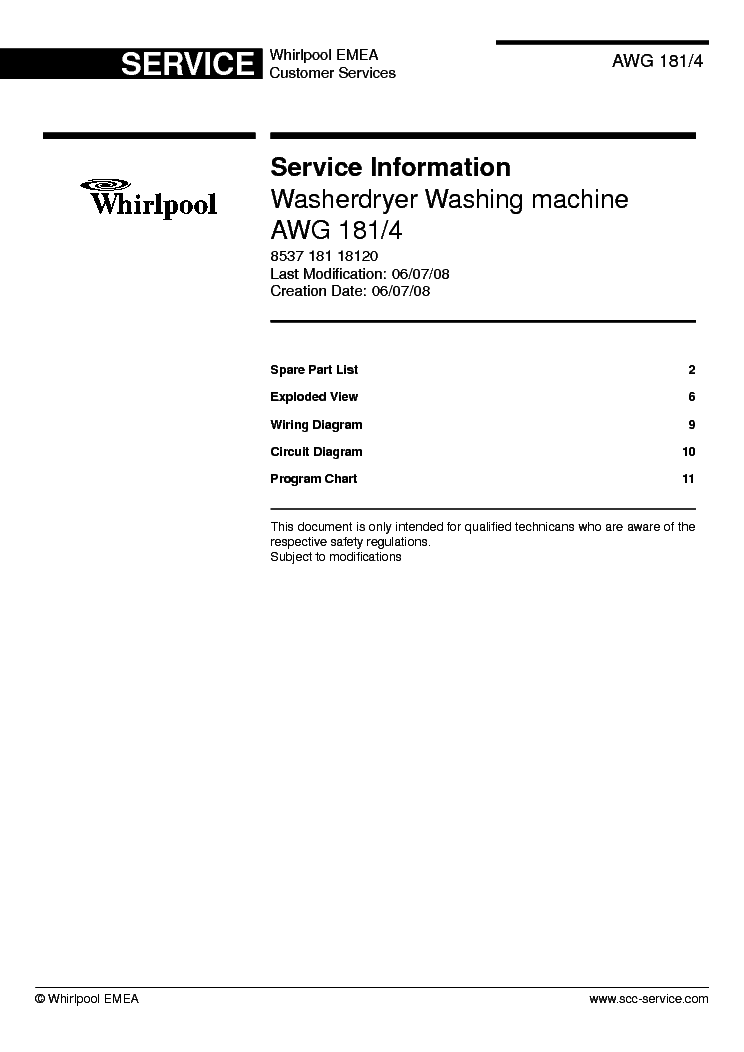 WHIRLPOOL S20D-RSS33-A G Service Manual download, schematics, eeprom on