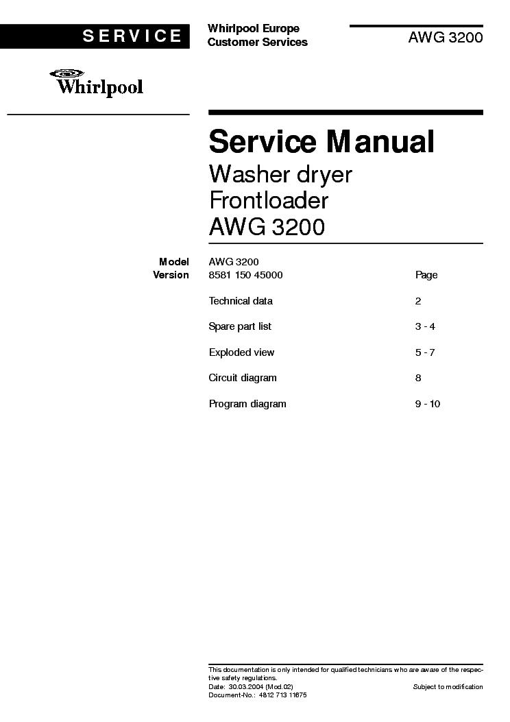 whirlpool awg 3200 service manual download schematics eeprom rh elektrotanya com Whirlpool Washer Service Whirlpool Service.area