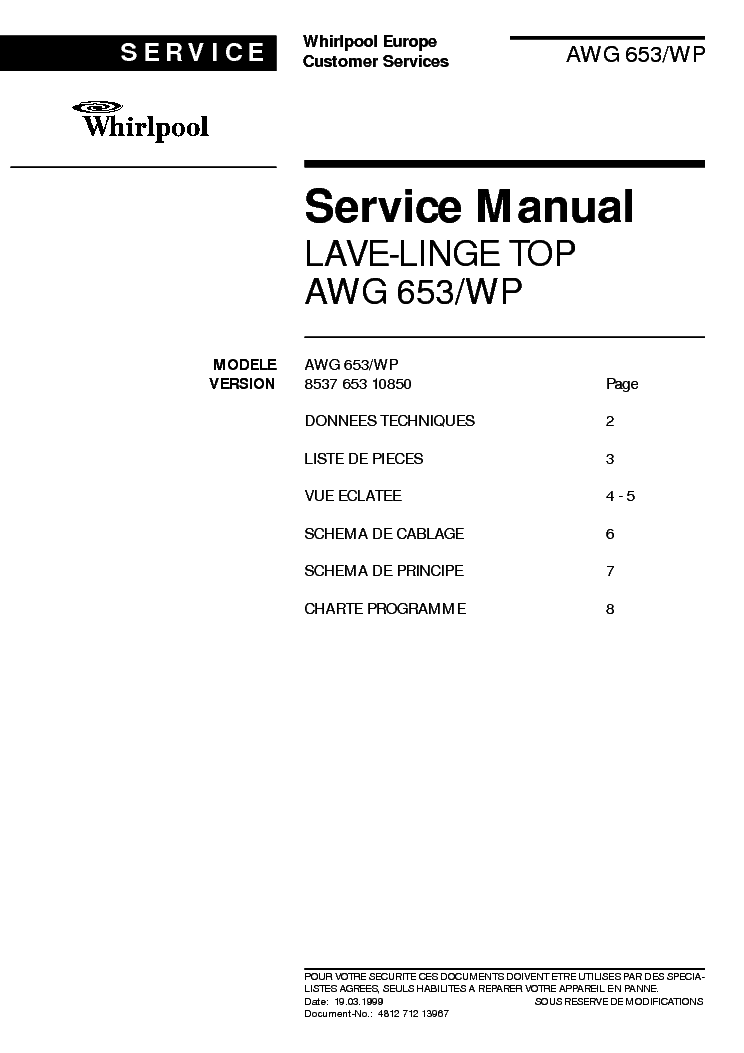 WHIRLPOOL AWG 653WP service manual (1st page)