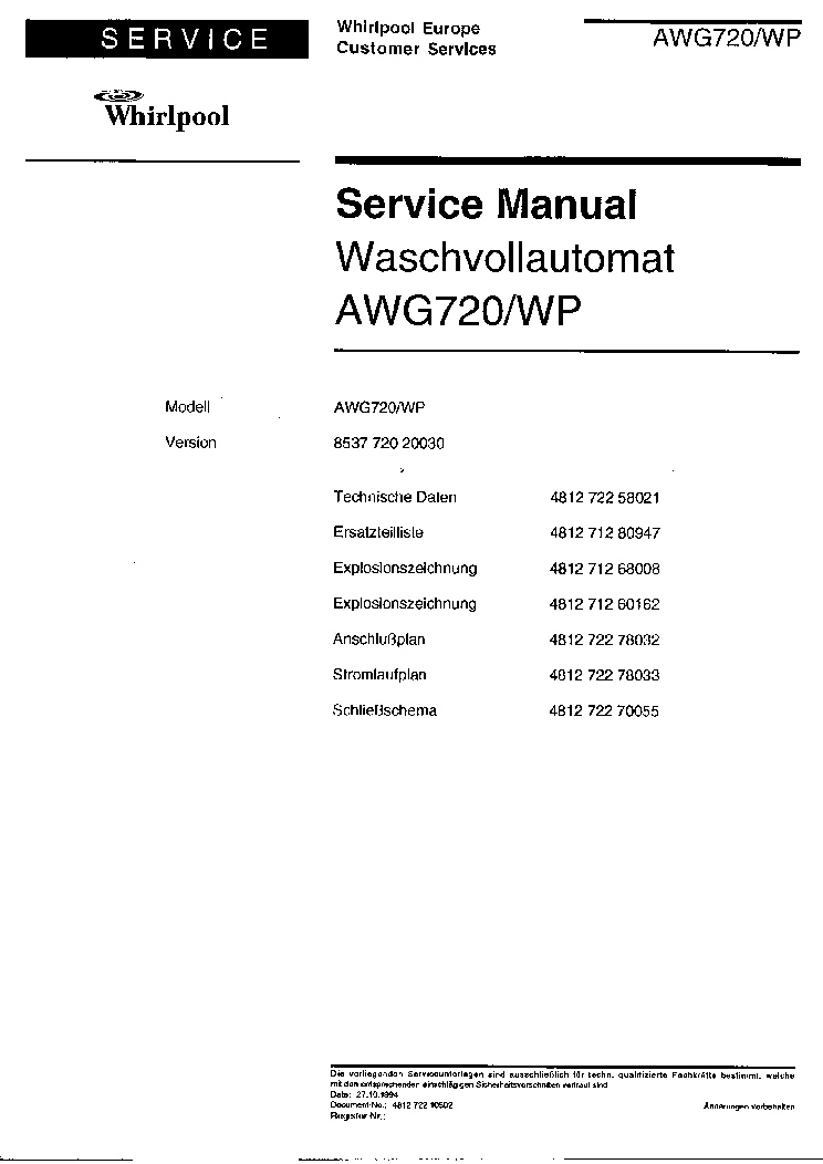WHIRLPOOL AWG 720WP service manual (1st page)