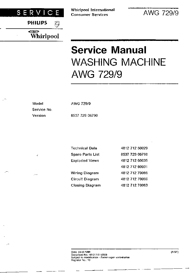 WHIRLPOOL AWG 729 WP service manual (2nd page)