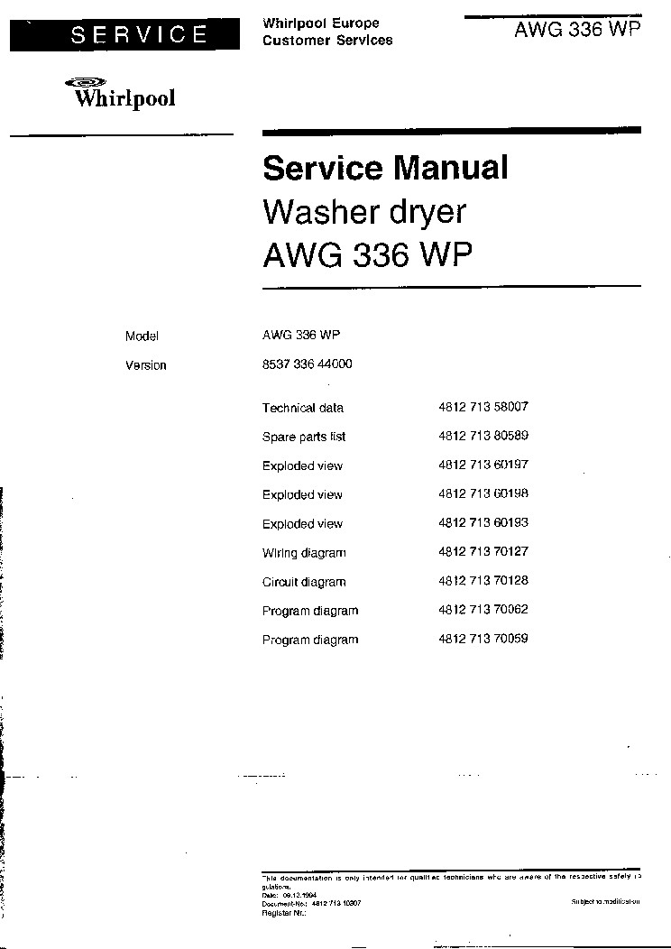 Whirlpool Fridge service manual ed5vhexvb06 on