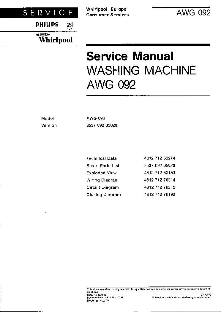 whirlpool l1782 service manual