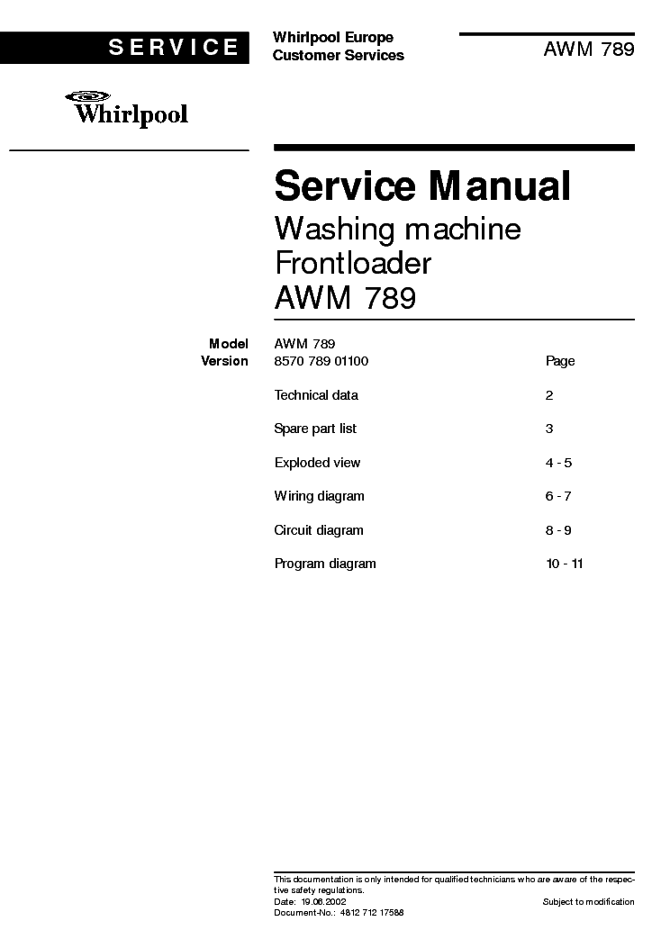 WHIRLPOOL AWM789-600 service manual (1st page)