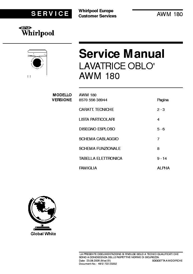 Whirlpool awg 652/wp service manuals.