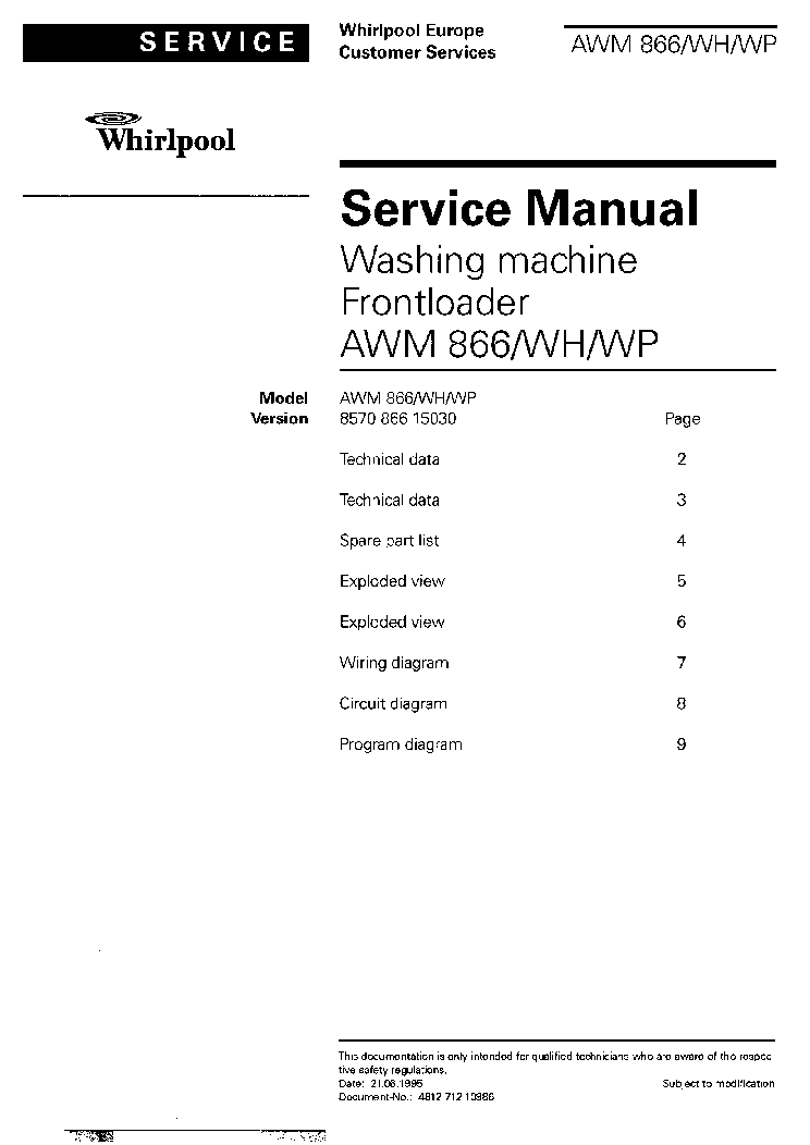 whirlpool awm 1866whwp service manual download  schematics