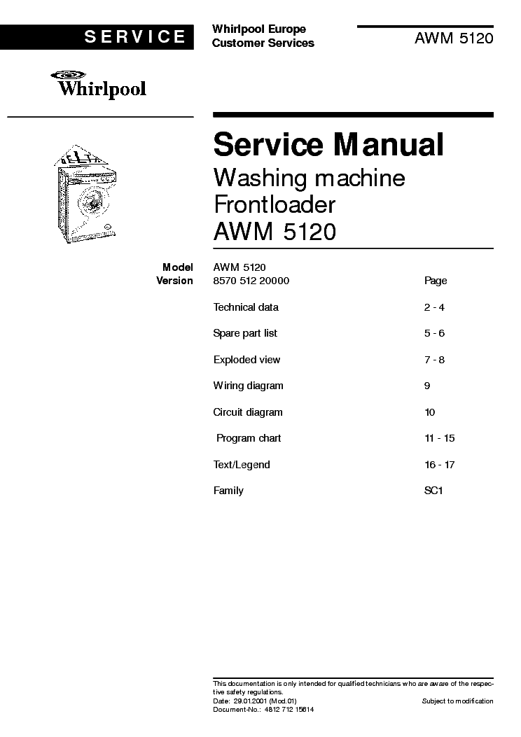 WHIRLPOOL AWM 5120 service manual