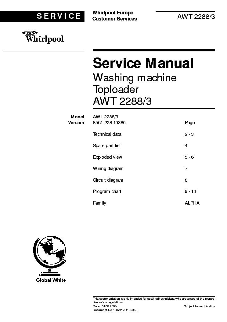 Whirlpool awt 2288 3 service manual