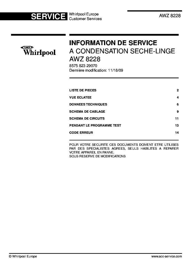 Whirlpool Awz8228 Service Manual Download  Schematics