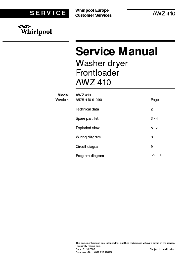 WHIRLPOOL AWZ 410 service manual
