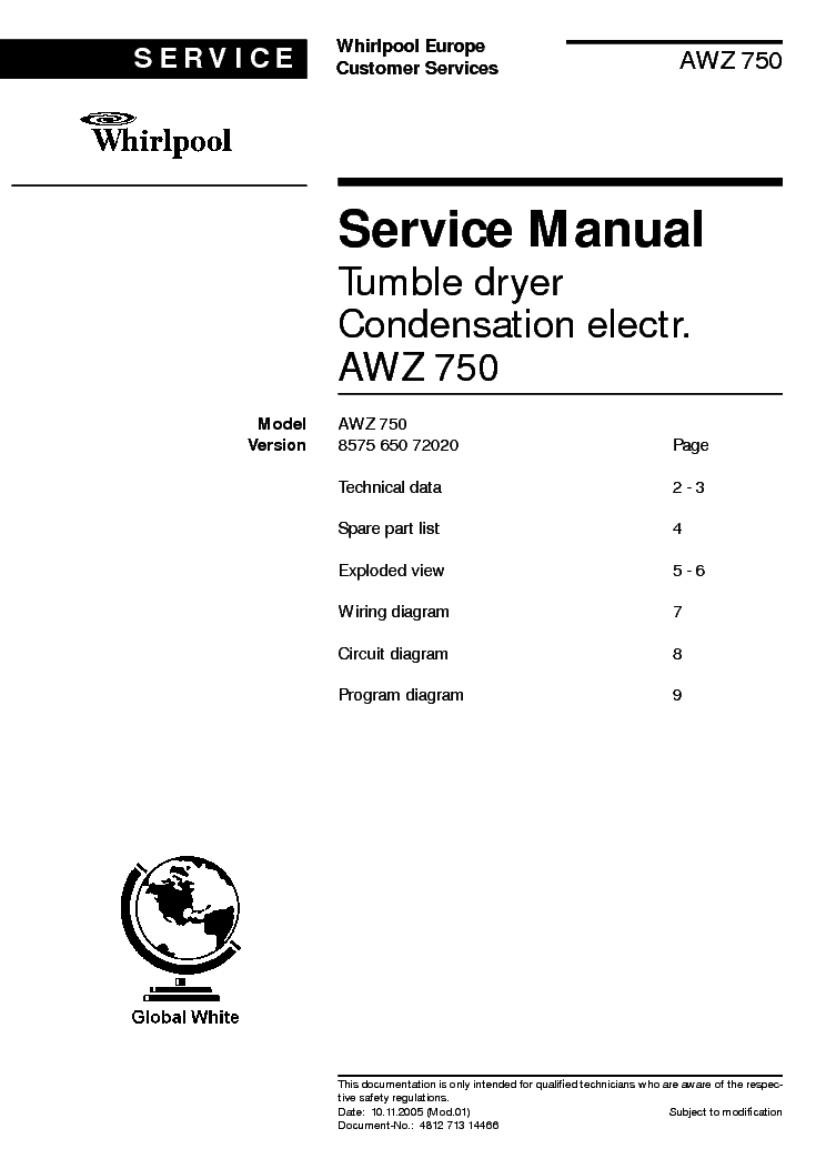 Whirlpool Awz 750 Service Manual Download  Schematics