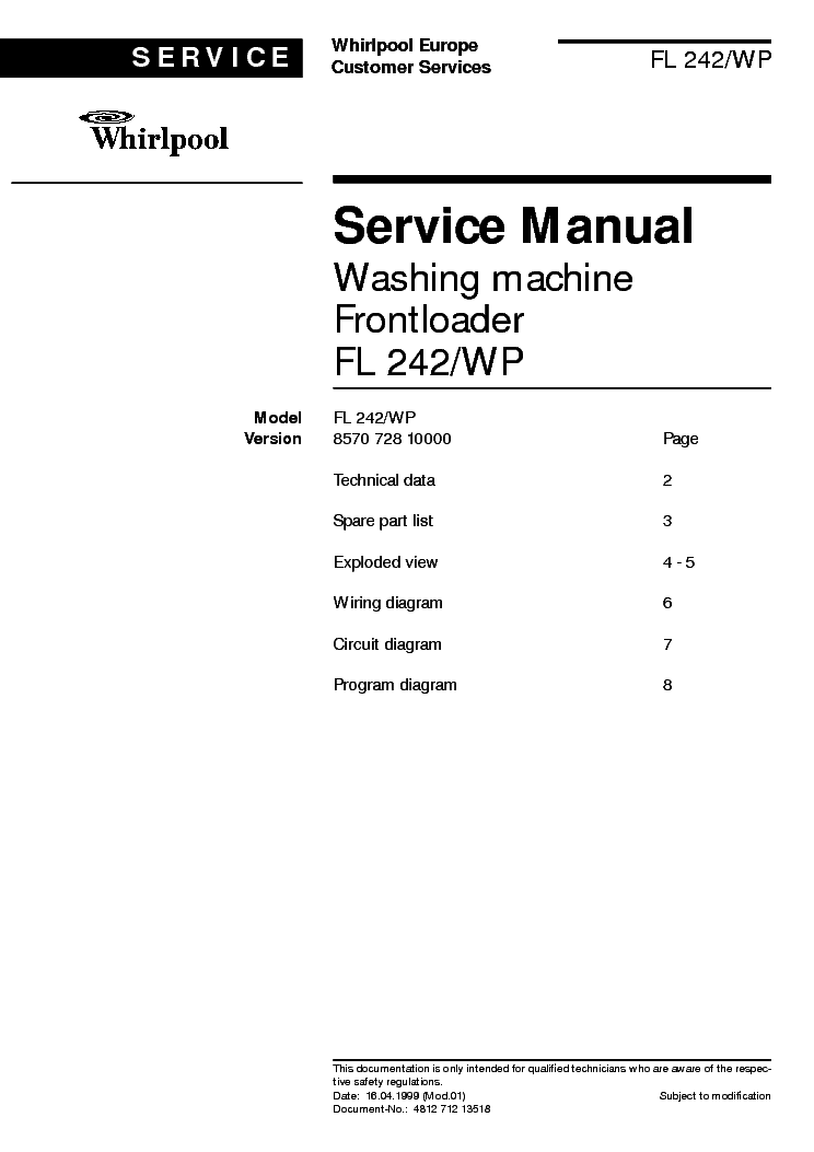 Whirlpool Fl 242 Wp Service Manual Download Schematics